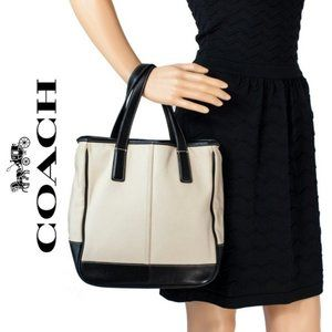 Coach Beige Black Leather Canvas Tote Bag